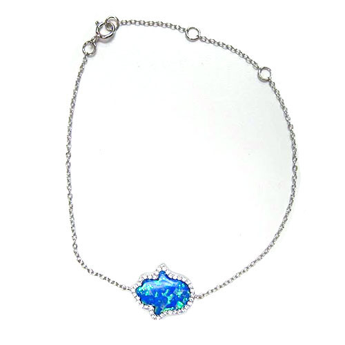 Dark Blue Opal Hamsa With C.Z. Bracelet
