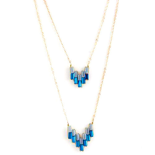 Double Deco Chevron Design Layered Necklace-Blue