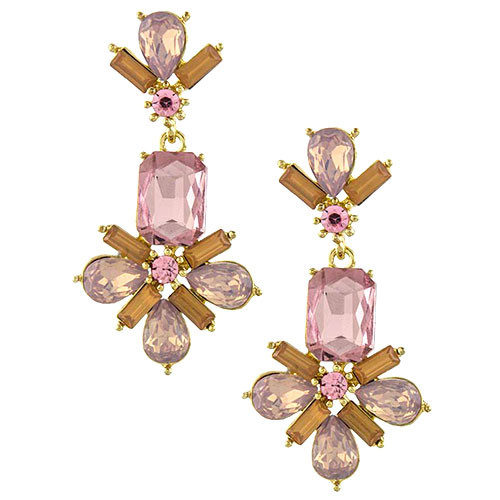 Exquisite Pink Crystal Cluster Dangle