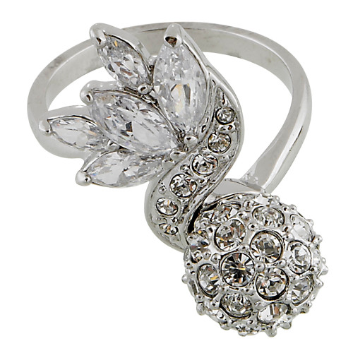 Leaf and Pave Ball Ring