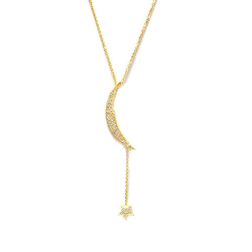 14K over Sterling & C.Z. Crescent Moon with Star Dangle
