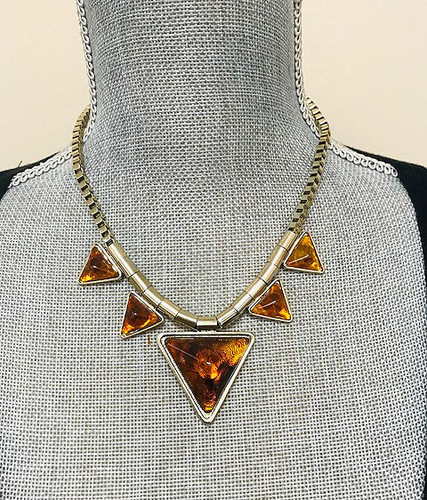 Points and Box Chain Necklace Tortoise Shell