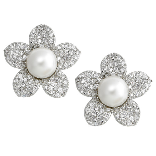 Pave Flower with White Pearl Center