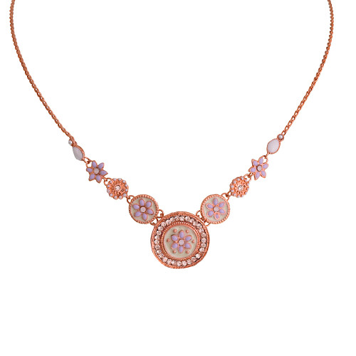 Alba Rose Gold Flower Coin Necklace