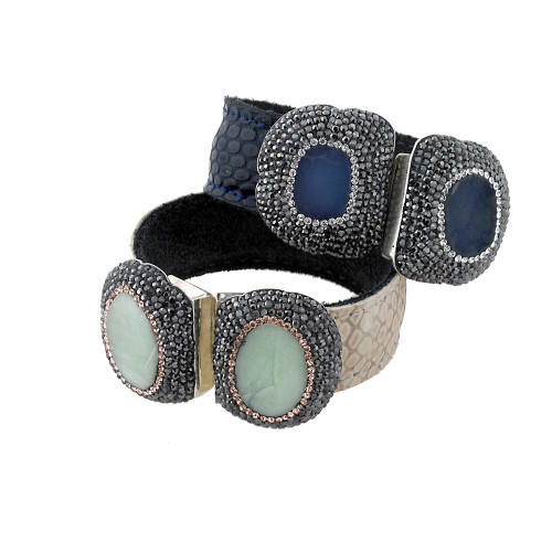 Double Stone Reptile Leather Open Cuff