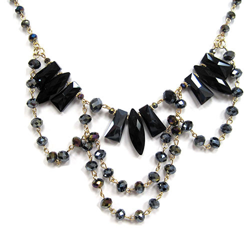 Draped Chains Martinque Necklace BLK