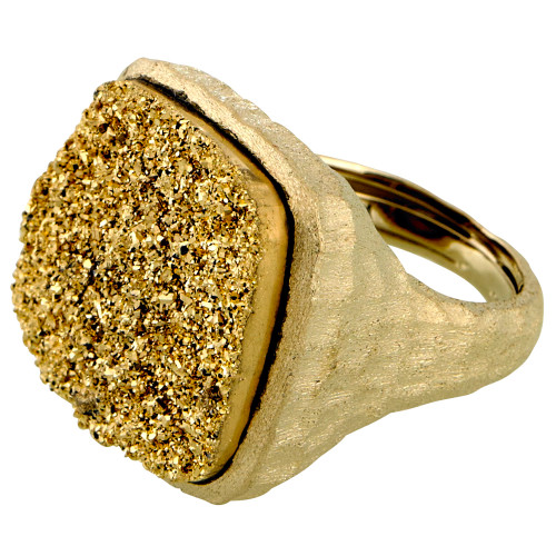 Large Square Gold Druzy Ring