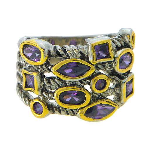 Layered Look Amethyst Stone Ring