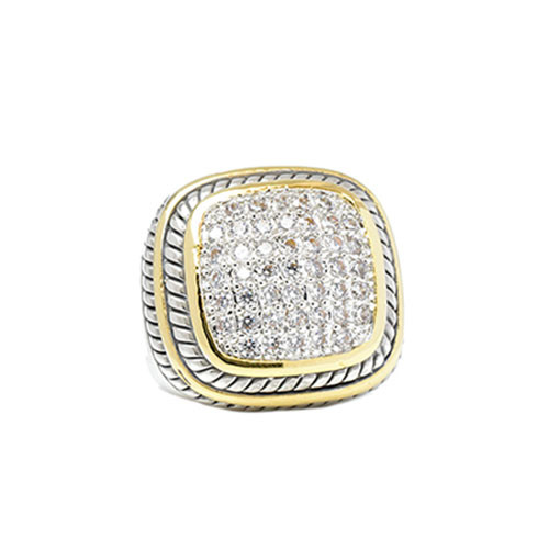 Two Tone Pave Square ring