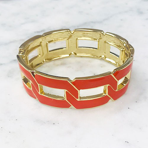 lat Linked Cuff Bracelet Orange
