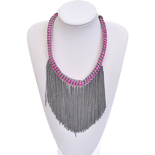 Gunmetal Rock Star Fringe Necklace
