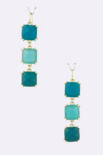 Three Linked Turquoise Squares Earring