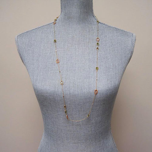 Autumn Crystal Long Chain Necklace