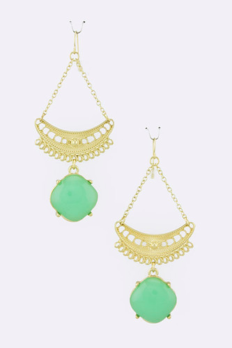 Half Moon and Green Square Dangle