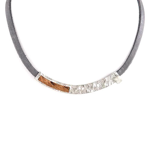 Metal Bar with Crystal and Leather Necklace 1