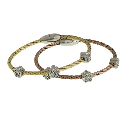 Flower Station Pave Magnetic Bracelet