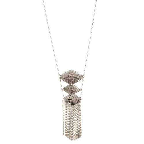 Long Perforated Triple Ladder and Fringe Necklace