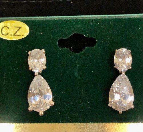 Double Cubic Zirconia Pear Drop Earring