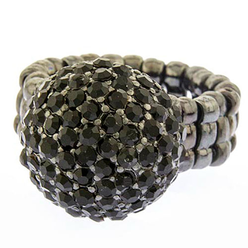 Pave Black Pom Pom Ring