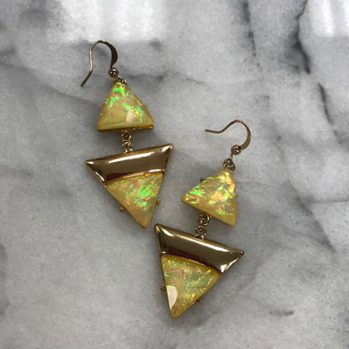 Deco Triangles Earrings Yellow Opal