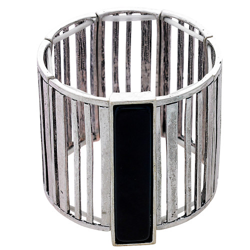 Silver & Black Bar Stretch Bracelet