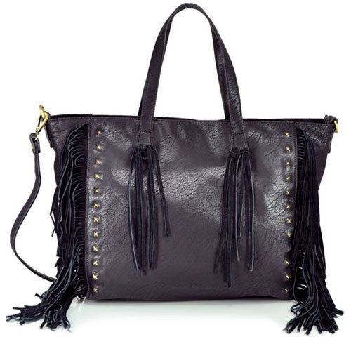 Sondra Roberts Black Nappa with Suede Fringe Tote