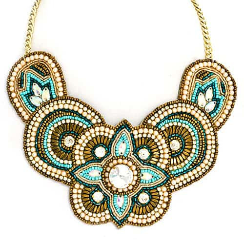 Hand Beaded Bronze and Turquoise Bib Necklace
