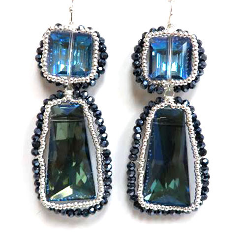 Blue Vitrail Large Crystal Earrings