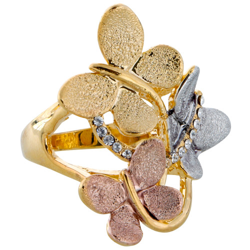 Tri-colored Butterfly Ring