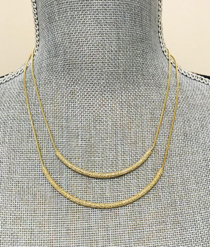 Double Diamond-Cut Tubes Necklace