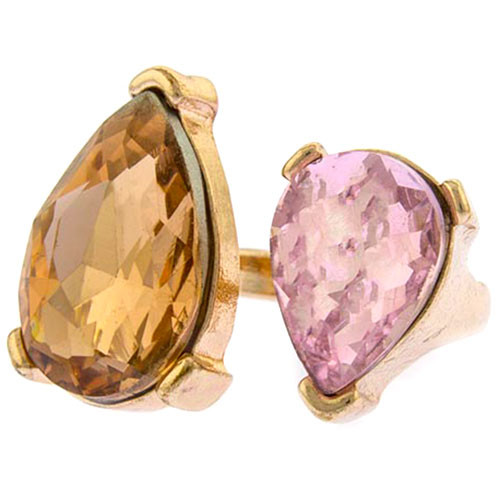 Pink and Topaz Double Jewel Ring
