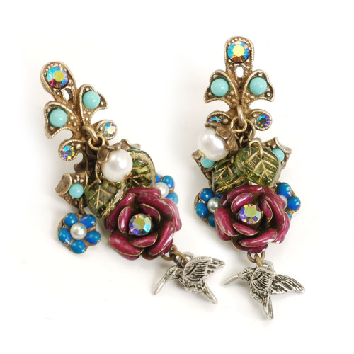 Hummingbirds and Flowers Earring