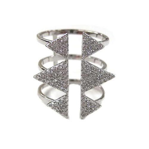 Six Triangle Silver Rhodium Open Top Ring