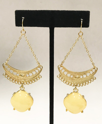 Half Moon and Off White Square Dangle