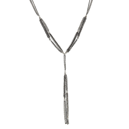 Clear and Jet Crystal Bars Pendant Necklace