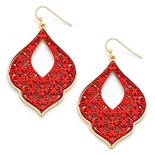 Kyky & Zo Red Filigree Earring