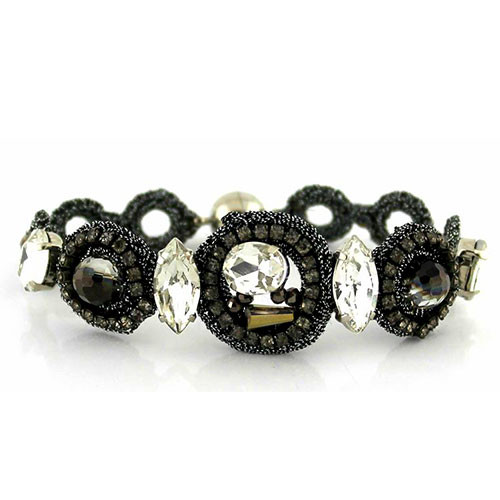 Gray Crochet, Crystals and Beads Bracelet