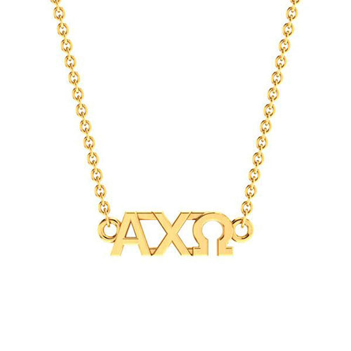 Alpha Chi Omega Gold Horizontal Lavalier