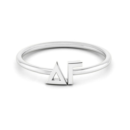 Delta Gamma Silver Thin Band Letter Ring