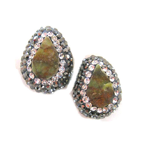 African Turquoise Teardrop and Hematite Studs