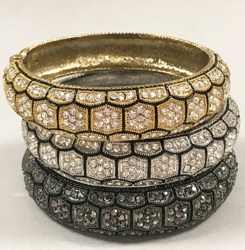 Hinged Crystal Patterned Bracelet