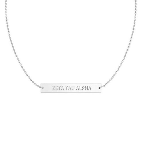 Zeta Tau Alpha Silver Infinity Bar Necklace