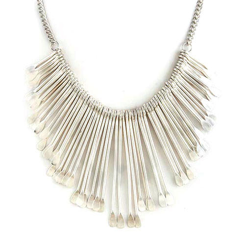 Silver Sculpted Metal Fringe Necklace