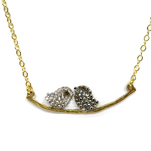 Lil' Lovebirds Necklace Clear & Black