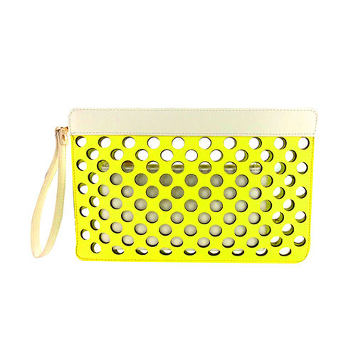 Sondra Roberts Yellow/White Perforated Dot Clutch