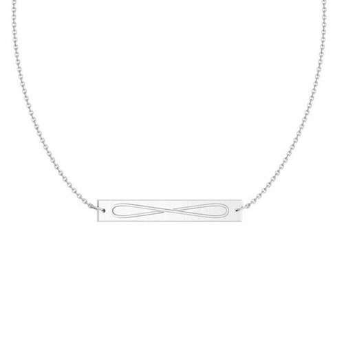 Alpha Delta Pi Silver Infinity Bar Necklace