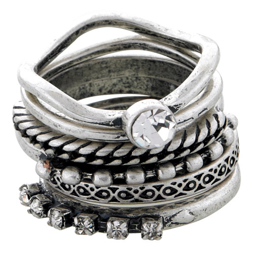 Antiqued Silver Colored Stackable Rings