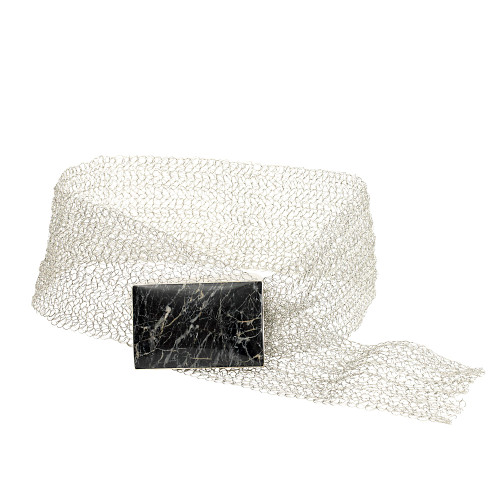 Crocheted Silver Mesh and Onyx Rectangle Buckle