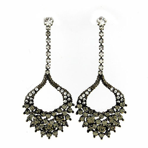 Black Diamond Elegant Leaf Drop Earring