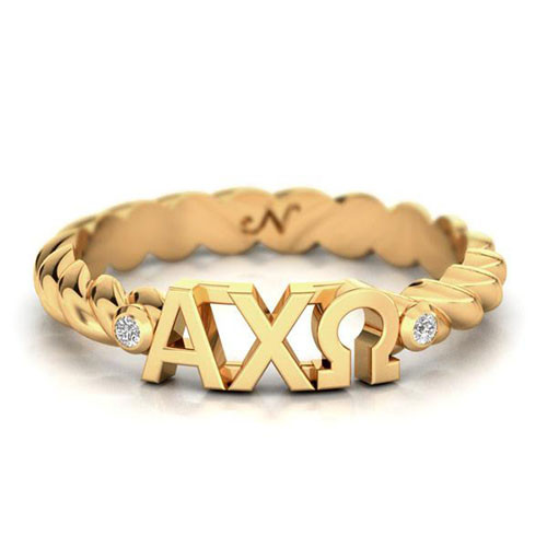 Alpha Chi Omega Gold Pavå© Twist Letter Ring